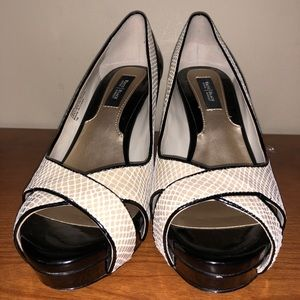 White House Black Market Snake Printed Heels